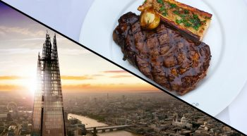 The View from The Shard and Three Course Meal with a Cocktail for Two
