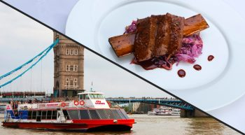 Thames Hop-On Hop-Off Cruise and Three Course Meal with a Cocktail for Two